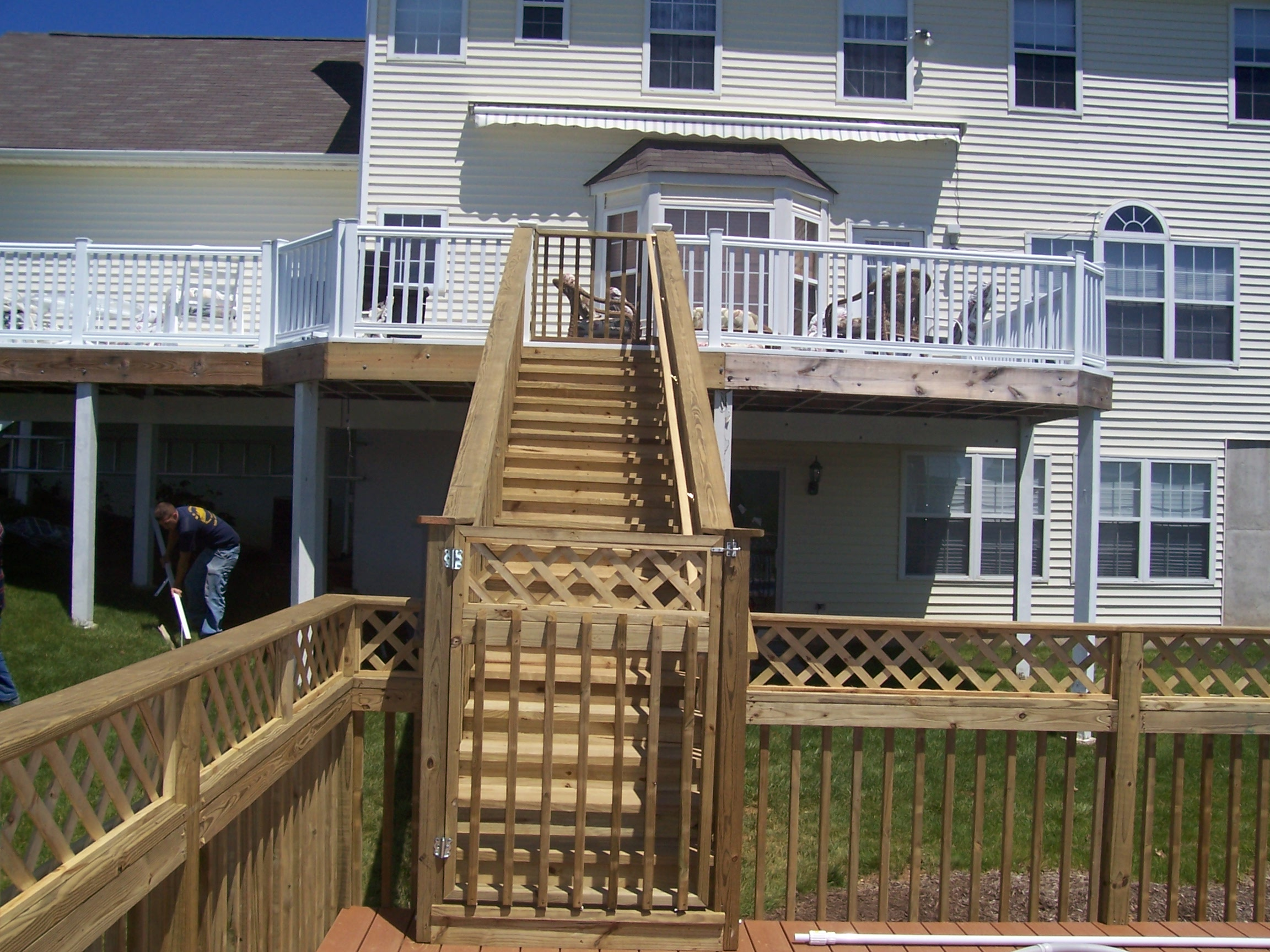 home improvement rear deck pole stairs
